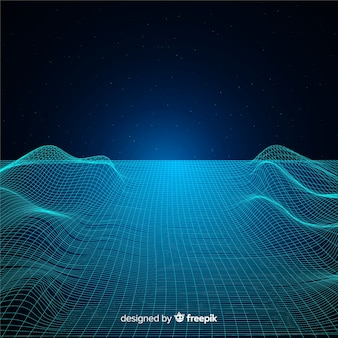 Abstract digital mesh waves background