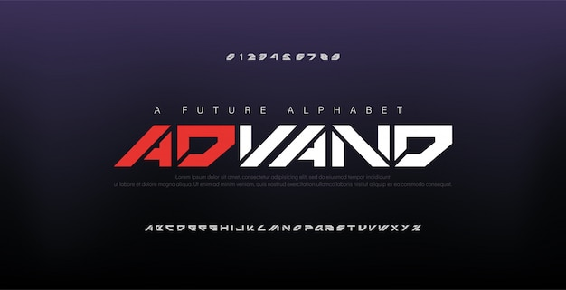 Abstract digital modern alphabet fonts