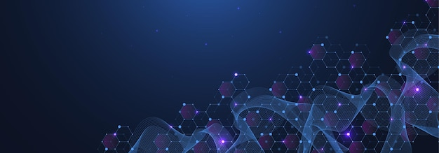 Abstract digital network connection structure on blue background.