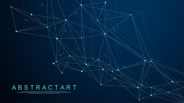 青い背景の抽象的なデジタルネットワーク接続構造