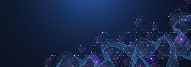 青い背景の抽象的なデジタルネットワーク接続構造。