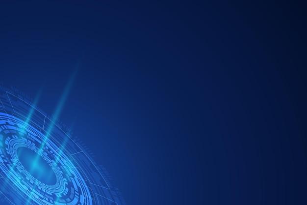 サーキュラーテクノロジーの青い背景に抽象的なデジタル。ワイヤーフレーム3dメッシュネットワークライン、設計