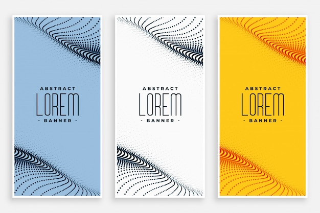 Abstract digital particles flow vertical banners set