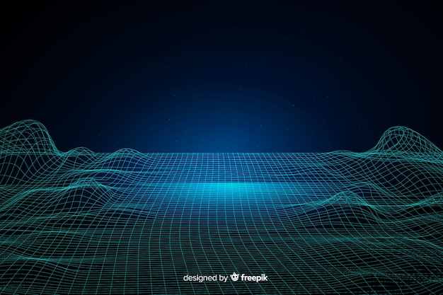 Abstract digital particles waves background