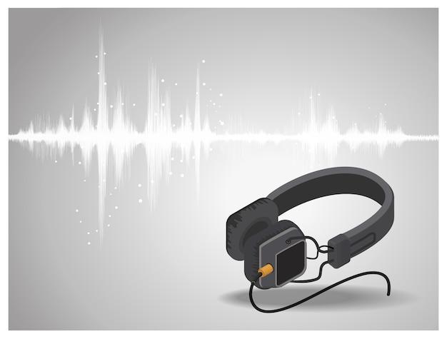 ヘッドホンの背景で振動する抽象的なデジタル音波。