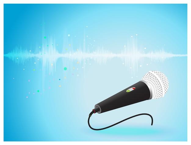 マイクロホンの背景で振動する抽象的なデジタル音波。