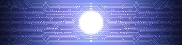 抽象的なデジタル技術の背景、青い回路基板パターン、マイクロチップ、電力線