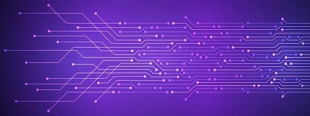 추상 디지털 기술 배경, 보라색 회로 기판 패턴, 마이크로칩, 전력선