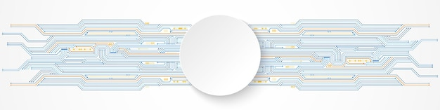 Abstract digital technology background, white circle banner on blue and orange circuit board pattern