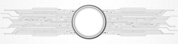 Abstract digital technology background, white circle blank space on circuit board pattern