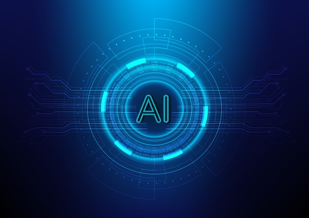 Abstract digital  technology background with ai(artificial intelligence)