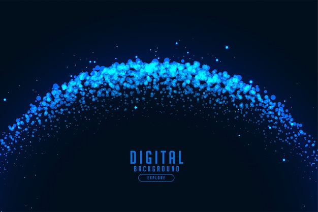 Abstract digital technology background with blue particles