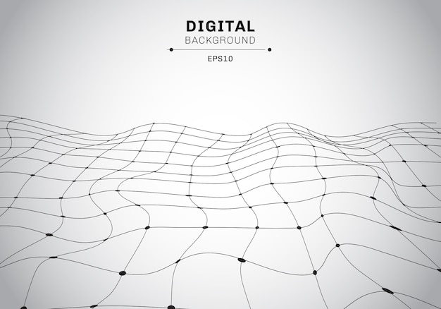 Abstract digital technology black wireframe background