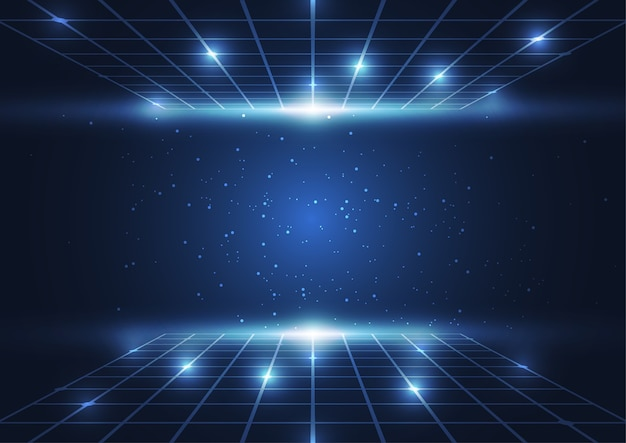 Abstract digital technology blue dots and lines background