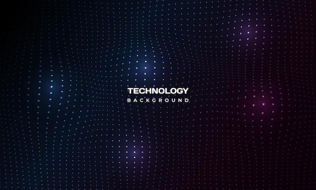 抽象的なデジタル技術の粒子は暗い背景をメッシュします