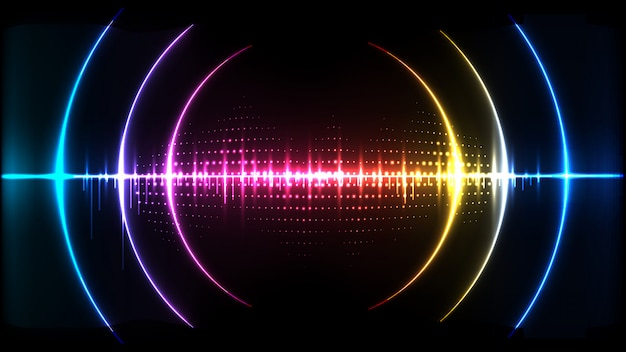 Abstract digital technology wave sound signal concept background