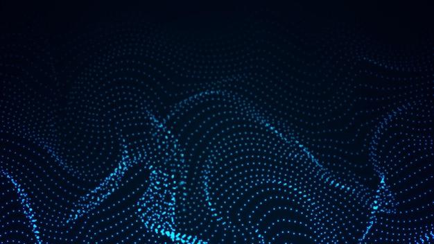 Абстрактная цифровая волна частиц. футуристическая точечная волна. векторный фон технологии. векторная иллюстрация