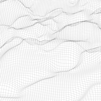 Abstract digital wireframe landscape background.
