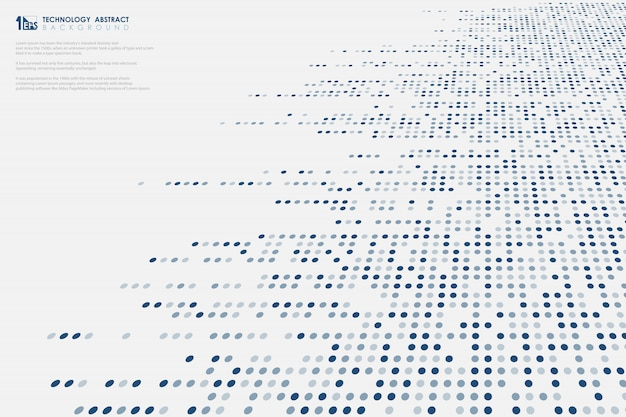 Abstract dimension blue dots big data technology line cover background.