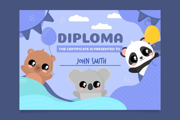 Modello di diploma astratto per bambini