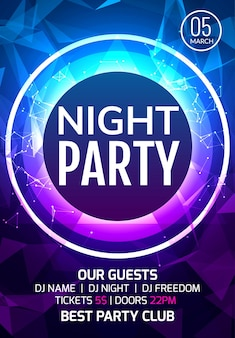 Abstract disco dance night party poster brochure design backgorund. creaive flyer music show entertainment night club.