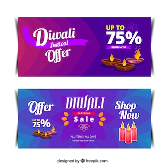 Abstract discount diwali banners