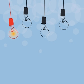 Abstract displaying different ideas lights presenting intellect concept colorful glowing bulb