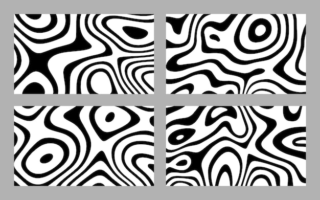 Abstract distorted black ink stripes background collection