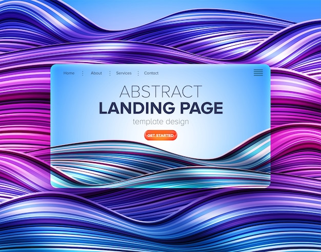 Abstract distorted stripe landing page template