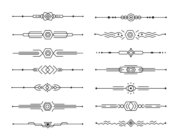 幾何学的な線のコレクションの抽象的な仕切りセット。