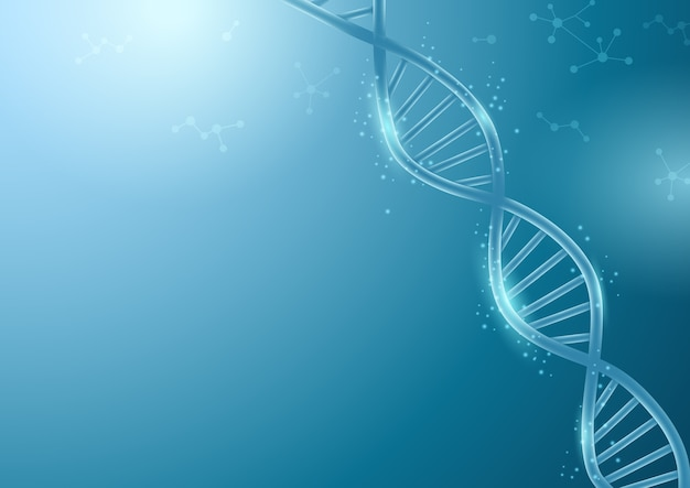 Abstract dna background with glow science and technology illustration