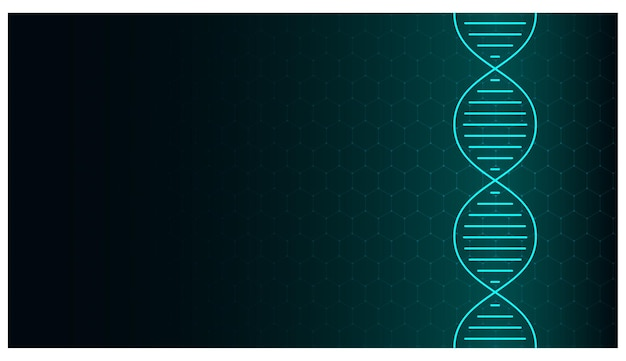 Abstract dna molecule neon helix on green background