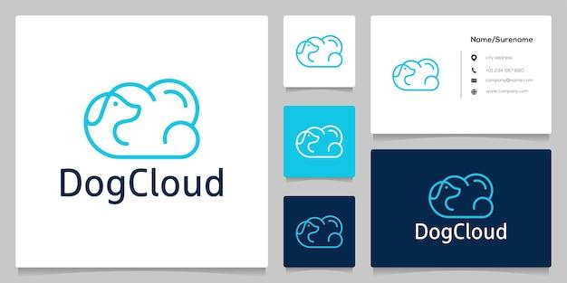 抽象的な犬の雲のバブルラインの概要最小限のロゴデザイン