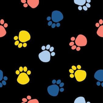 抽象的な犬の足のシームレスなパターンの背景。デザインカード、獣医のオフィスの壁紙、アルバム、スクラップブック、休日の包装紙、バッグプリント、tシャツなどの幼稚なシンプルな手描きアート。