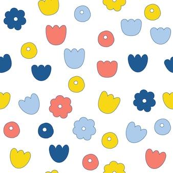 Абстрактный бесшовный фон фон цветок каракули. детская обложка для дизайнерской открытки, обоев, альбома, альбома для вырезок, праздничной упаковочной бумаги, текстильной ткани, принта на сумке, футболки и т. д.
