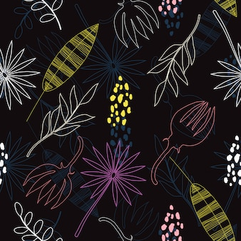 Abstract doodle lines of flowers seamless pattern  background