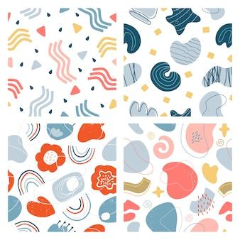 抽象的な落書きのパターン。手描きモダンなテクスチャの現代的なグラフィックの背景、創造的な抽象的な審美的なパターンセット。ペイントモダンな背景の壁紙パターンイラスト
