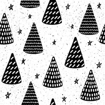 抽象的な落書きシームレスなパッテンの背景。デザイングリーティングカード、モダンなパーティーの招待状、ハロウィーンのホリデーメニュー、バッグプリント、tシャツのデザインなどのためのモノクロの黒と白のパッテン。