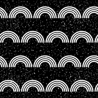 Abstract doodle seamless patten background. monochrome black and white patten for design greeting card, modern party invitation, halloween holiday menu, bag print, t shirt design etc.