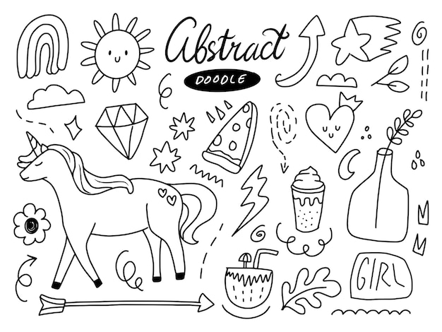 Abstract doodle sticker line art set with cute unicorn and dreamy magic items