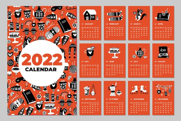 Abstract doodle trendy wall calendar planner in the year of  x inch vector template  months and cove...