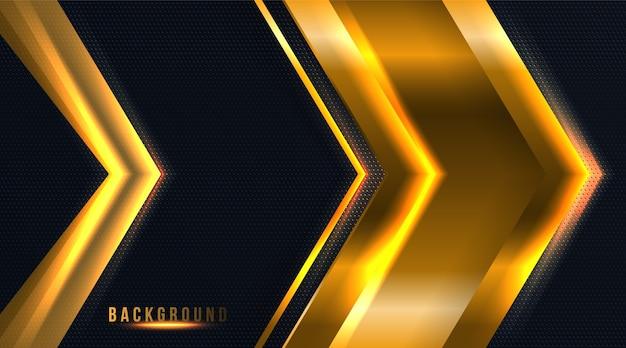 Абстрактная точка и стрелка черный и золотой роскошный фон