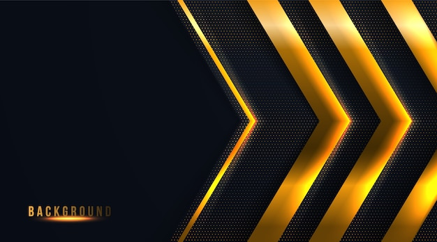 Abstract dot and arrow black and gold luxury background