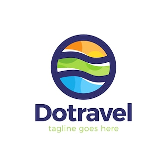 Абстрактные точки путешествия красочные элементы символ простой линии логотип в форме круга. логотип