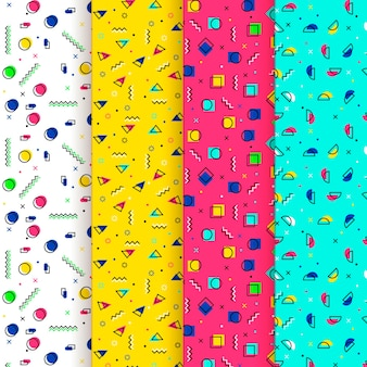 Abstract dots and shapes memphis seamless pattern