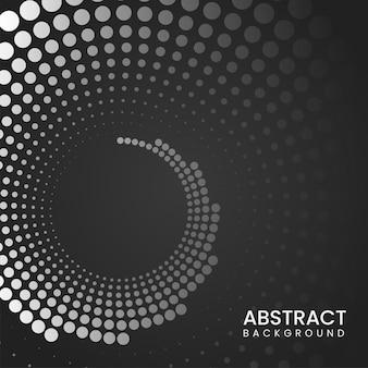 黒と白の色で抽象的な点線の曲線の背景。