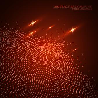 抽象的な点線輝く波背景、3 d効果。赤い色。