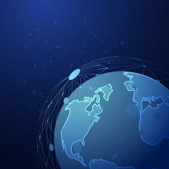 Abstract dotted line mesh over global planet background