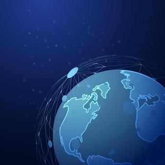 Абстрактная пунктирная сетка на фоне глобальной планеты