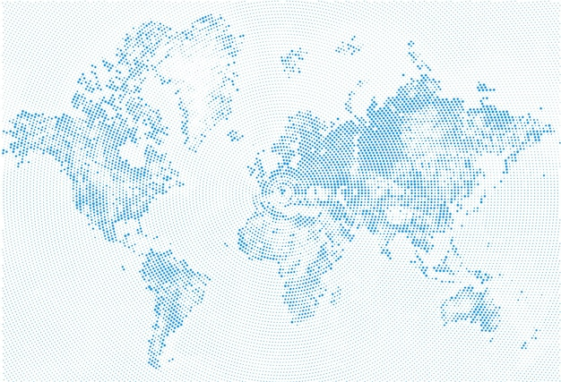 Abstract dotted map halftone grunge world map silhouettes continental shapes of monochrome dots